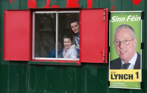 County Fermanagh, Northern Ireland Members of the public look out from a Sinn Féin information booth