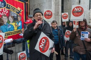 Paul Nicolson outside the Department of Work and Pensions in Westminster during a day of action against benefit sanctions in March.
