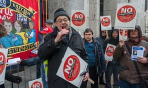 Rev Paul Nicolson speaks at a protest outside the DWP in Westminster as a part of their National Day of Action against Benefit Sanctions in March 2016.