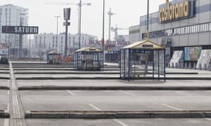 A carpark stands empty in Warsaw as a ban on most Sunday trade goes into effect across the country