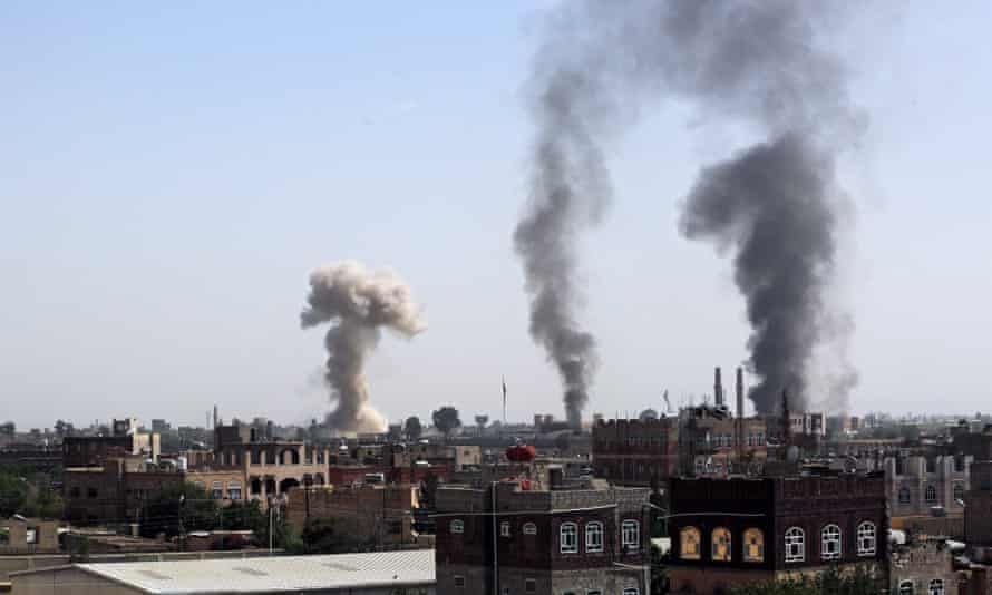An airstrike targeting a Houthi-held military position in Sana'a, Yemen, in August.