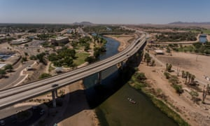 The Colorado river flows healthily on the Arizona side of the US-Mexico border