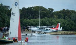 Sydney Seaplanes after landing on Lake Burley Griffin.