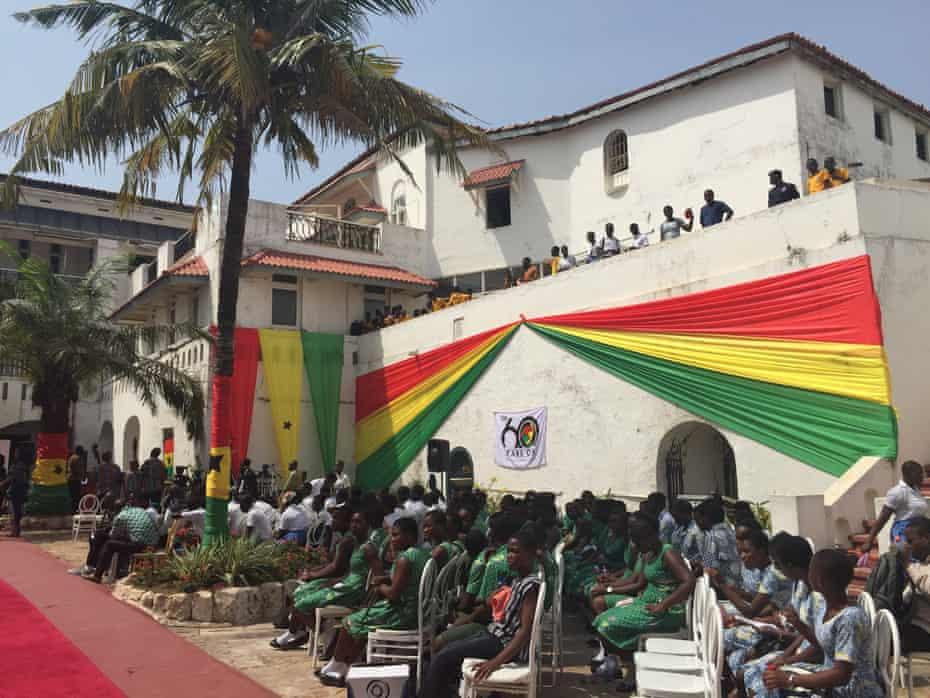 Schoolchildren wait to hear President Nana Akufo-Addo's speech
