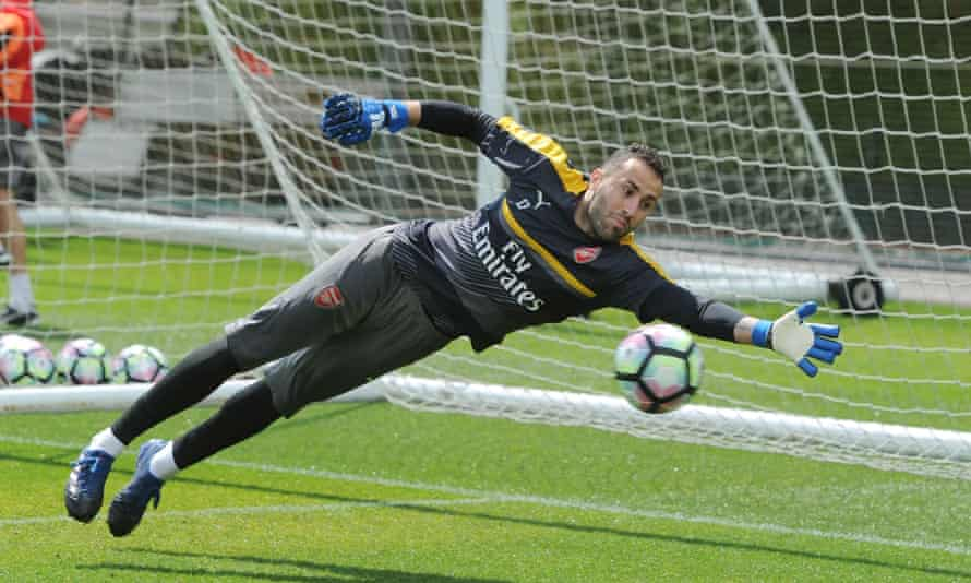 David Ospina in training ahead of Saturday's FA Cup final. The Colombian is expected to start for Arsenal against Chelsea at Wembley Stadium