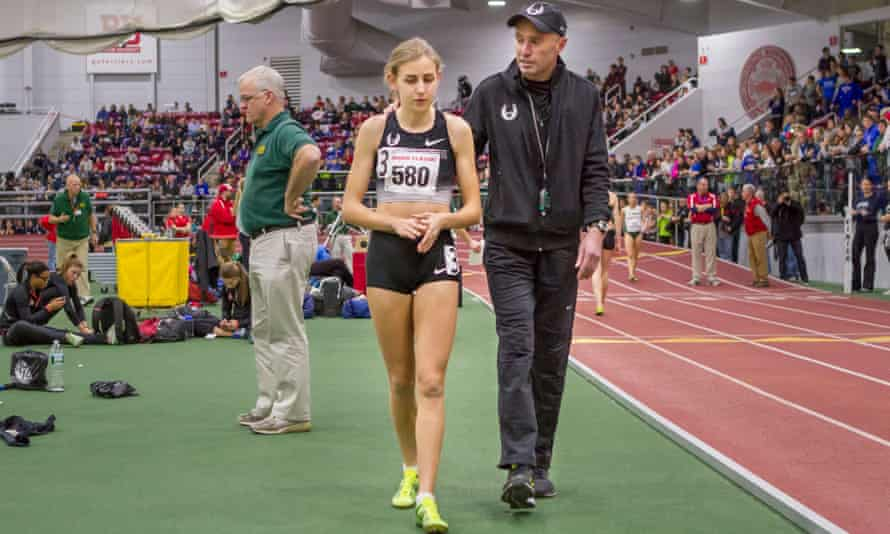 Mary Cain and coach Alberto Salazar after a Women's Invitational Mile race in 2014.