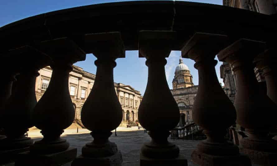 A deserted looking quad at Edinburgh University.