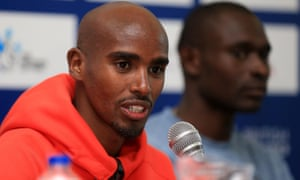 Mo Farah of Great Britain speaks during a press conference for the Birmingham Diamond League meeting.