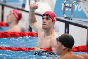 Great Britain's Reece Dunn reacts after winning the gold medal and setting a world record in the men's 200m freestyle S14 final.