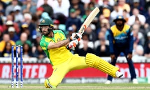 Glenn Maxwell hits out in unorthodox style during his unbeaten 46 off 25 balls against Sri Lanka.