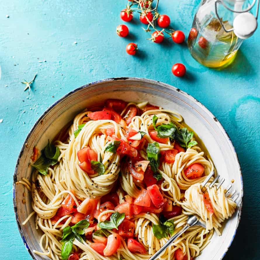 Spaghetti al picchio pacchio by Fabrizia Lanza. The Observer's 20 best tomato recipes supplement. Food Stylist: Kim Morphew Prop stylist: Tamzin Ferdinando