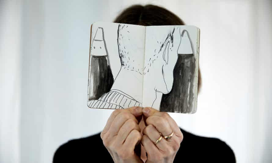 Jill Gibbon with her sketch book. All photographs by Christopher Thomond for The Guardian