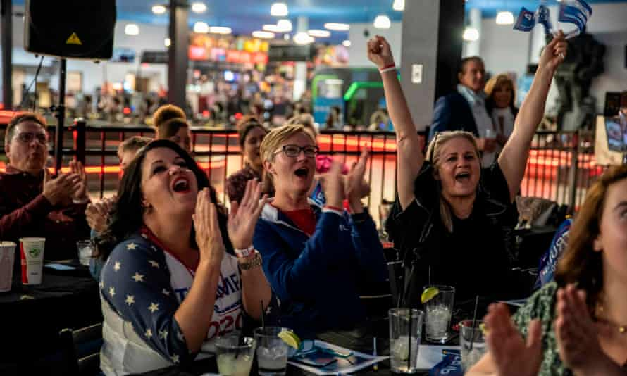 People watch the 2020 election results roll in at a bar in Austin, Texas.