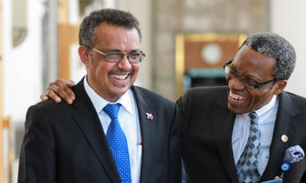 Ethiopia's Tedros Adhanom Ghebreyesus, left, has been elected to lead the WHO after three rounds of voting, beating Dr David Nabarro and Dr Sania Nishtar to the role.