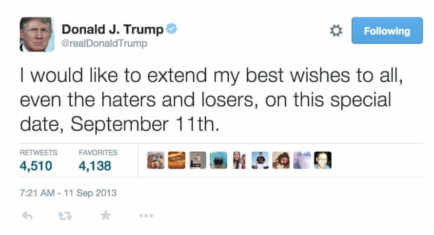 Donald Trump tweet about 'haters and losers'