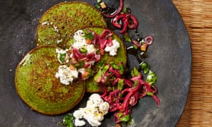 Yotam Ottolenghi's buckwheat and ricotta hotcakes with preserved lemon salsa.