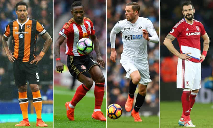 From left: the form of Hull City's Tom Huddlestone, Sunderland's Jermain Defoe, Swansea City's Gylfi Sigurdsson and Álvaro Negredo of Middlesbrough will be key to their clubs' survival chances.