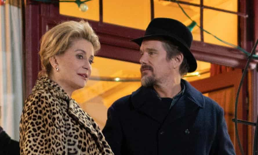 Deneuve as Fabienne and Ethan Hawke as her son-in-law, Hank