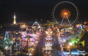 The festival and fairground is lit up at night