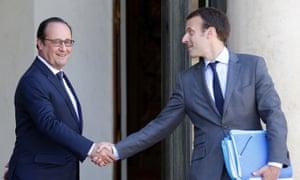 Emmanuel Macron and François Hollande