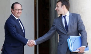 François Hollande with Emmanuel Macron, then economy minister.