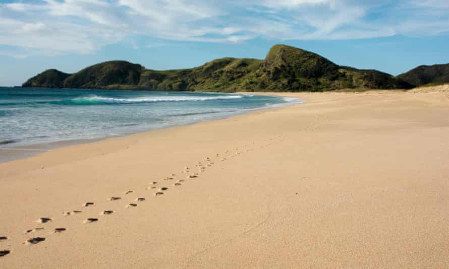 Footsteps on a beach
