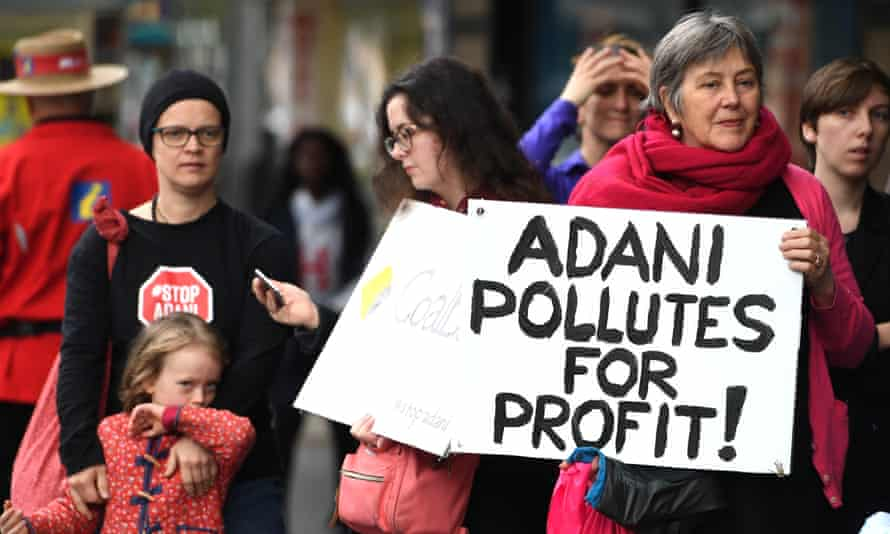 Protesters at a #StopAdani demonstration in Australia.