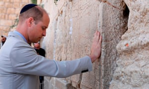 Prince William touches the Western Wall in Jerusalem's Old City