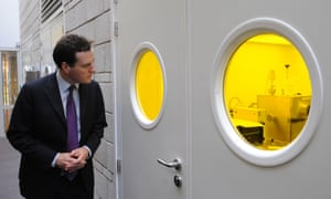 British Chancellor of the Exchequer George Osborne tours labs at the University of Manchester