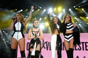 Little Mix perform on stage during the One Love Manchester Benefit Concert at Old Trafford