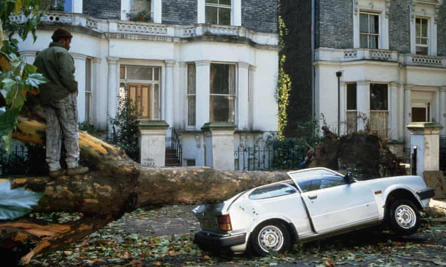 A tree crashed through the roof of a car - the aftermath of great storm of 1987