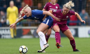Chelsea's Maria Thorisdottir battles with Manchester City's Isobel Christiansen in Sunday's FA Cup tie. Thorisdottir became her club's latest injury victim in that match.
