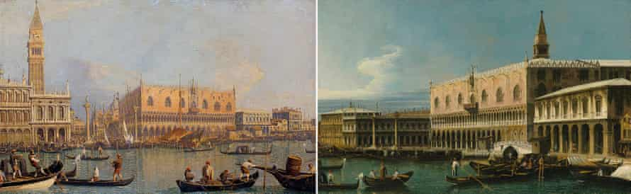 Two views of Venice by Canaletto and Bellotto