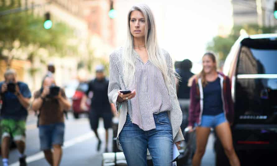 Vogue's Sarah Harris demonstrates the art of the half tuck.