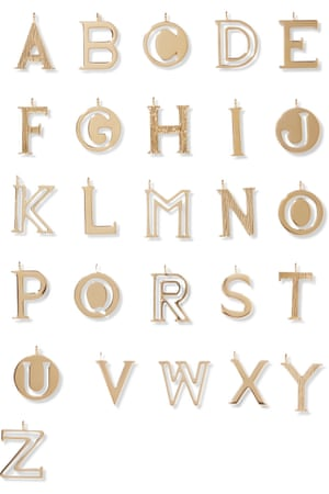 Alphabet gold-plated wallet charms, £30 each, Chloe net-a-porter.com