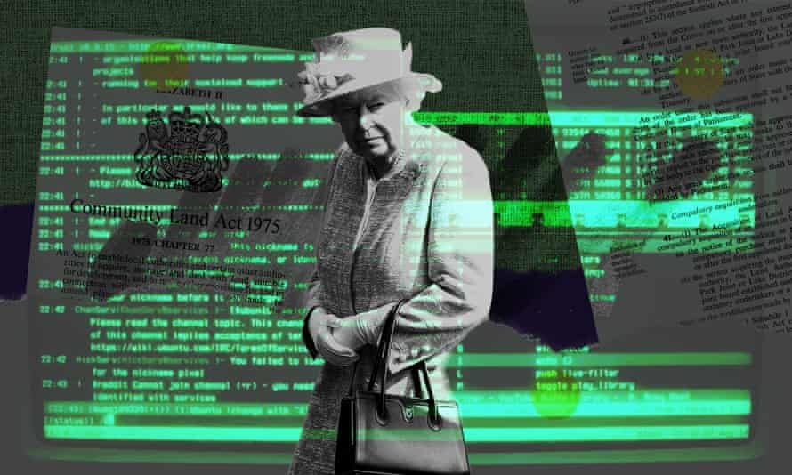 Illustration of the Queen in front of some computers to accompany the Engineering Blog post about Queen's Consent