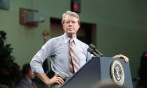 President Jimmy Carter listens to a question from his audience in Yazoo, Mississippi in July 1977.