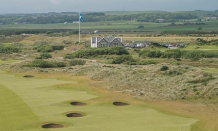 Trump's golf links near the 18th hole. The site impinges on rare sand dunes, presently with conservation status.