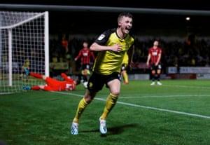 Nathan Broadhead celebrates scoring Burton Albion's second goal.