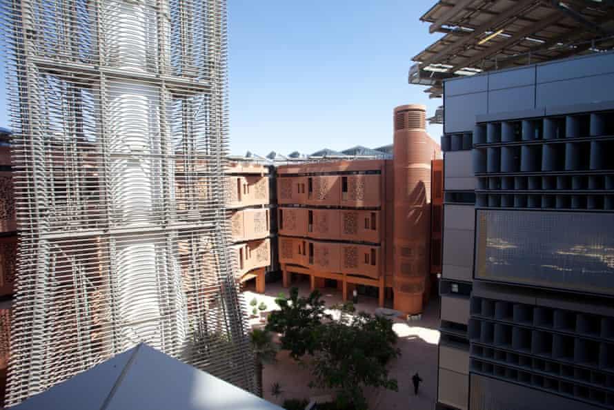 A wind tower within Masdar