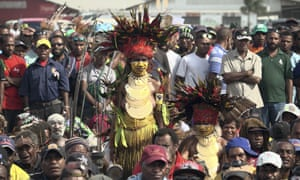 A group gathers at an election rally in the Papua New Guinea capital, Port Moresby.
