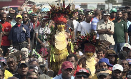 People gather at an election rally in the Papua New Guinea capital, Port Moresby ahead of the 2017 elections.