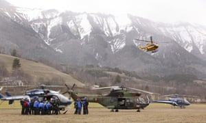 Mountain rescue teams arrive near the site of the Germanwings plane crash.