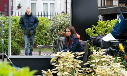 Screen time … Clay Milner Russell and Milly Zero on the set of EastEnders.