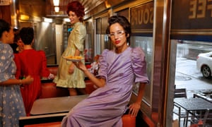 A model poses in a Batsheva dress at New York fashion week on 12 September.