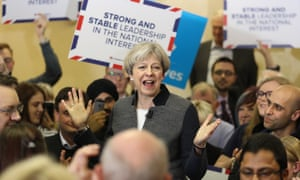 Theresa May campaigning in Dudley in the West Midlands at the weekend