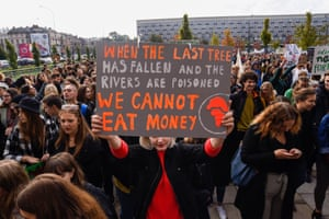 A student joins the protest in Krakow, Poland.