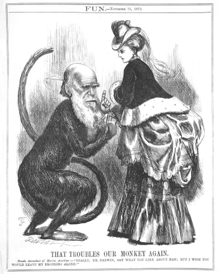 Fun, the main satirical rival of Punch, responds to the publication of Darwin's Expression of the Emotions in Man and Animals, 1872, with this visual image of Darwin as an anthropoid ape with erect tail and hairy black hand on the dainty wrist of a 'female descendent of Marine Ascidian'.