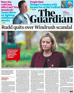 The Guardian's 30 April front page