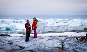 Laura Bowler, right, in Antarctica.